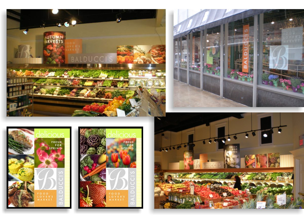 Photos of interior reconfigurable affordable seasonal graphic elements, food photos, seasonal photos and text elements large format printed on styrene and shown placed in storefront windows and above refrigerated display cases.