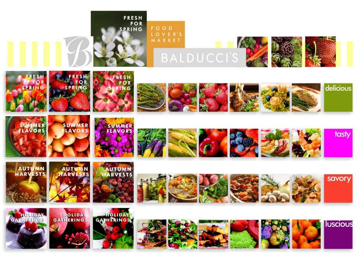 Array of elements for each season shown juxtaposed including three large title photos plus six smaller food photos plus one bright solid color text square per season. Fresh for Spring strawberries, tulips and dogwood, followed by asparagus, carrots, lamb chop, saffron risotto and fresh salmon next to a bright green square declaring them Delicious. Summer Flavors tomatoes, apricots and Gerber daisies in orange and magenta followed by green pea pods, corn on the cob, red peppers, cut fruit salad, red and green tomato Caprese salad and shrimps in a fresh green salad next to a bright magenta square declaring them Tasty. Autumn Harvests caramel candy apples, fall colored leaves and a cornucopia of fruit pears, red grapes, apples and ornamental squash followed by mason jar vegetables, hearty crock of chicken soup, beef stew, and a fish cioppino stew next to a bright russet square declaring them savory. Holiday Gatherings molten chocolate cakes dusted with powdery white sugar, a cluster of pomegranates, and winter holly berries and leaves in the snow followed by cranberry goat cheese salad, thick french toast with berries, winter apples and clementines next to a right plum purple square declaring them luscious.