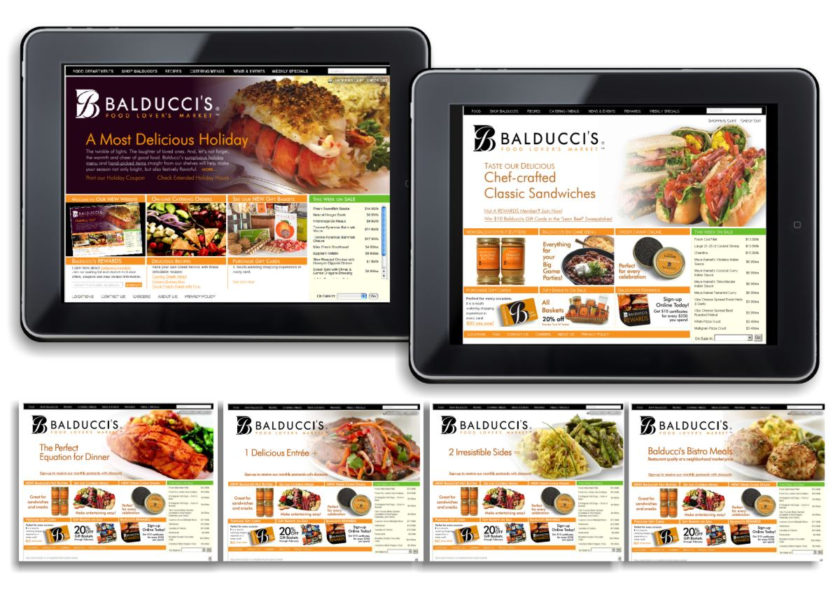 I-pad and website images showing holiday fare of stuffed lobster, catering offerings and gift baskets. Another image shows luscious chef-crafted classic sandwiches, hoagies and wraps, private label products, Super Bowl party catering and rewards program offerings. The third image shows a series of 4 slides to illustrate delicious Bistro Meal combinations of one delicious entree like marinated salmon, super chunky crab cakes or a Japanese steak stir-fry with two irresistible sides like almond snow pea saffron rice or sauteed asparagus. Yum!