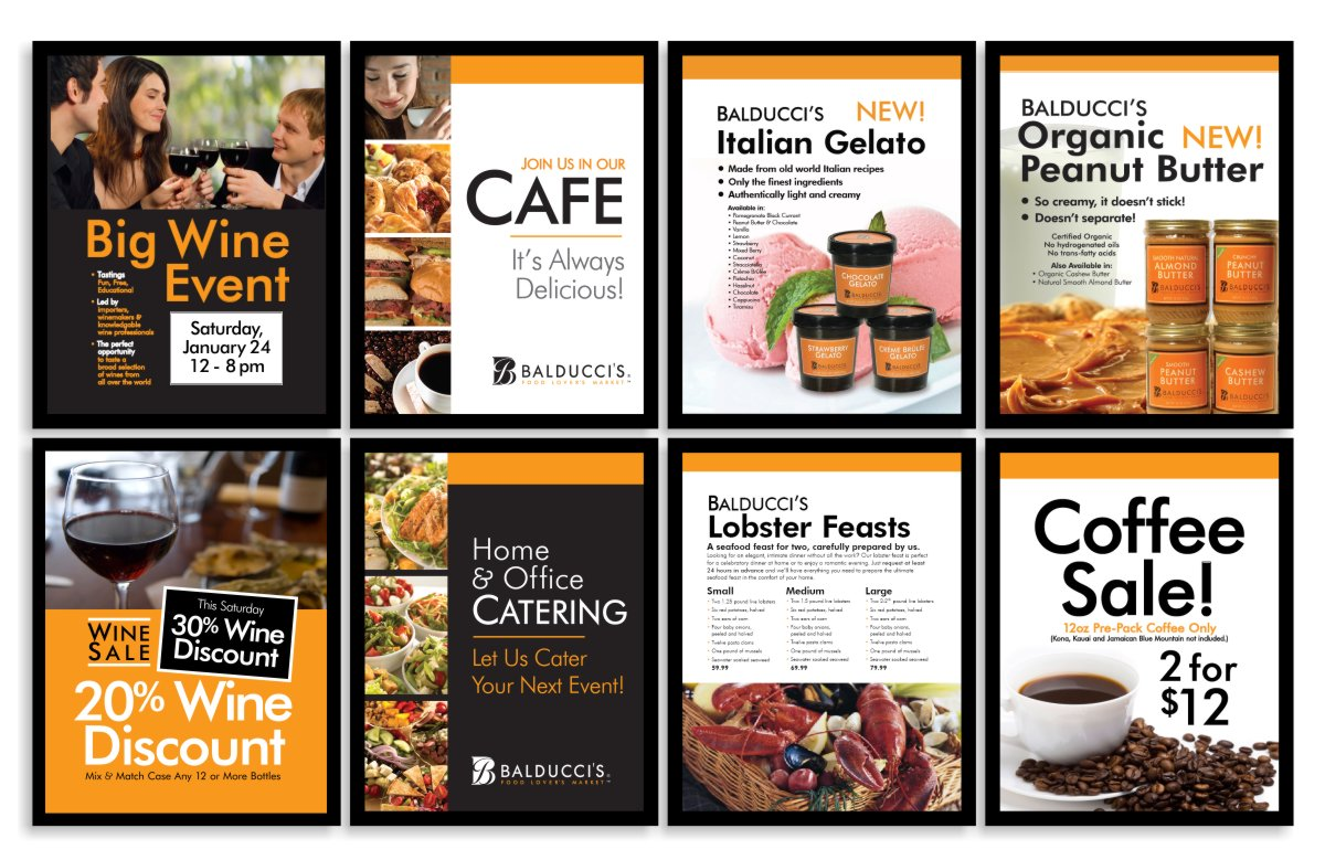 marketing graphic design series of stanchion size 22x28 inch promotional poster signage using consistently branded typefaces with logo orange, black framing and simple white text that talks about taste and flavor first