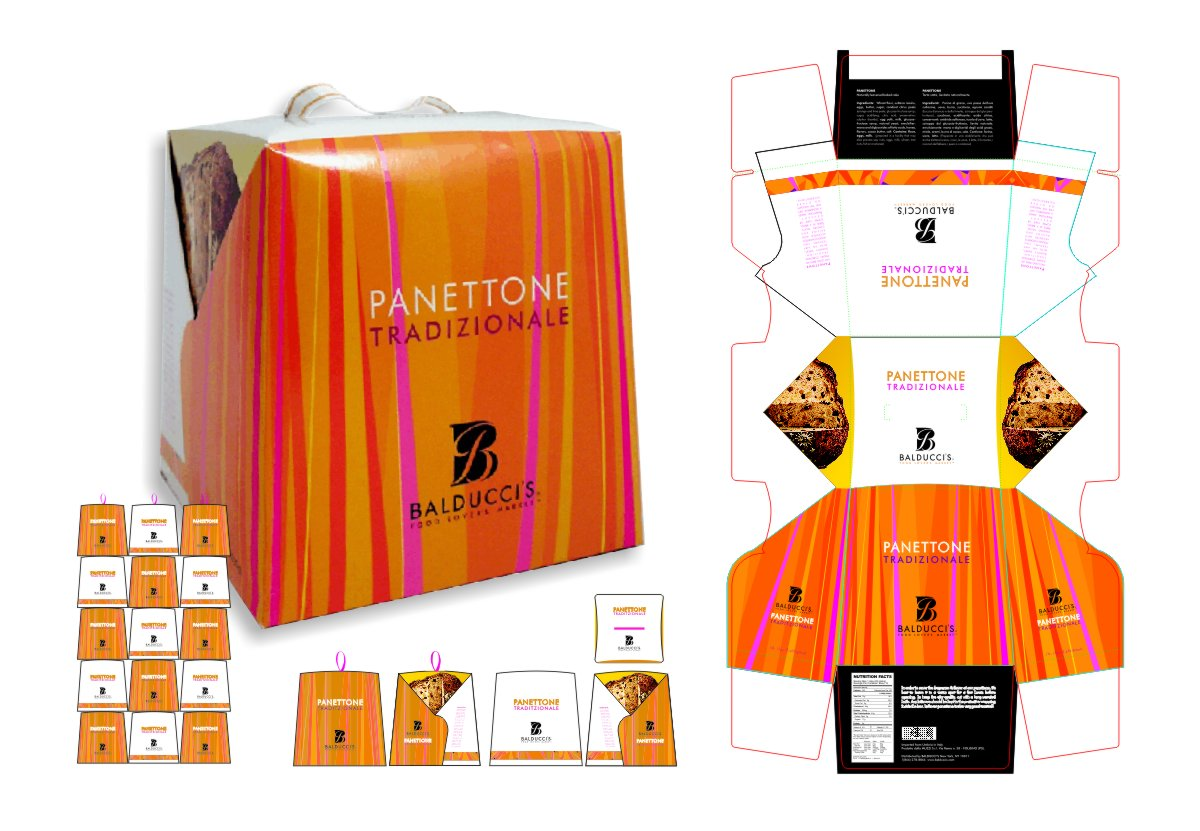 Panettone holiday gift box packaging design one side with a pattern of random vertical stripes in orange, vermillion, hot pink and magenta, with the other side in white, black logo and a thin bottom border in the random orange pink stripes, so that when panettone boxes are stacked for display it forms a brand compatible white and orange checkerboard festive for the holidays. Design by Mark Ksiazewski at Centre Street Creative Food Market Design.