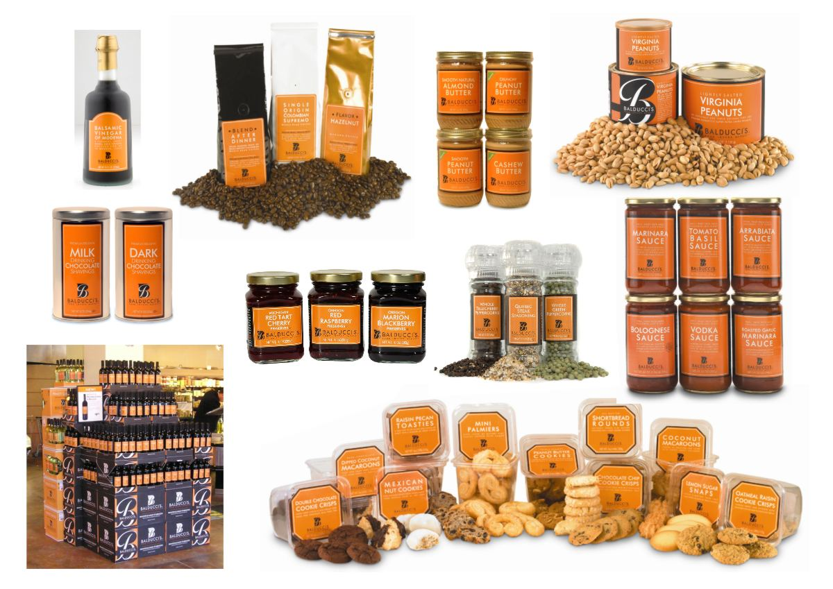 Array of 10 photos showing brand family of orange and black private label packaging graphic design for balsamic vinegar from Modena Italy, roast coffee, peanut butter, roasted peanuts, cocoa, jams and preserves, spices, marinara spaghetti sauces, house red and white wines and assortment of eleven flavors of cookies designed by Mark Ksiazewski at Centre Street Creative Food Market Design