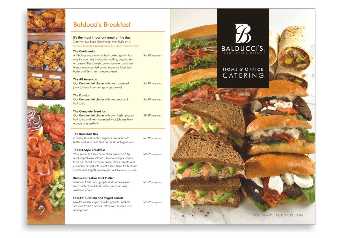 Catering menu graphic design and food photography styling  showing a cover with stacks of sandwiches turkey with avocado and Russian dressing, Caesar Hero or and Italian cold-cut hoagie style sandwich, marinated tips of beef with roasted red peppers, arugula and goat cheese and wrap sandwiches with roast beef avocado and Boursin cheese. On the back cover and array of bakery products, croissant and muffins and a breakfast catering platter with sliced smoked salmon and condiments like cucumber salad with dill, sliced red onion, capers, lettuce and sliced tomato.