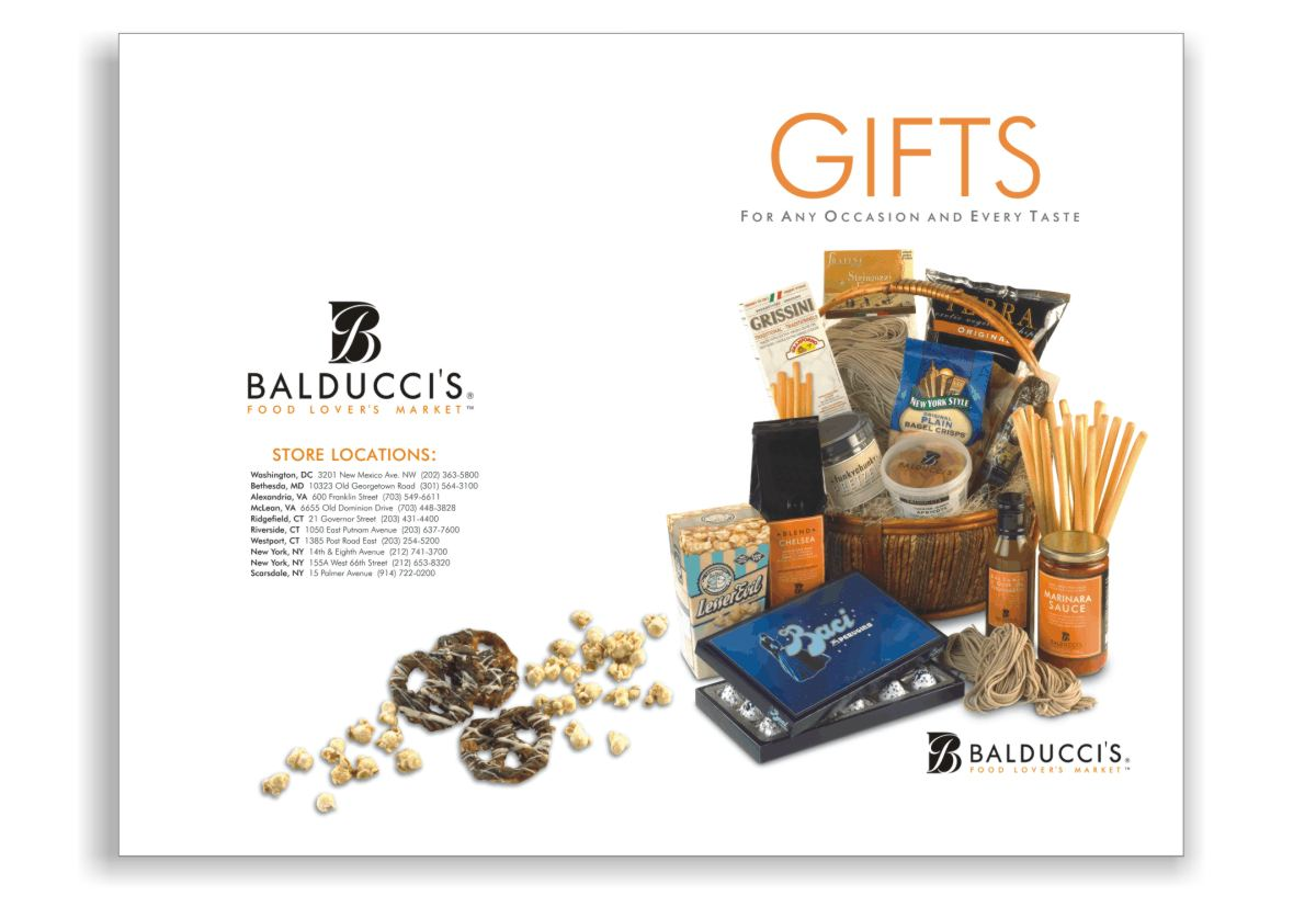 photo showing gift catalog front and back cover layout and product photography styling including Balducci