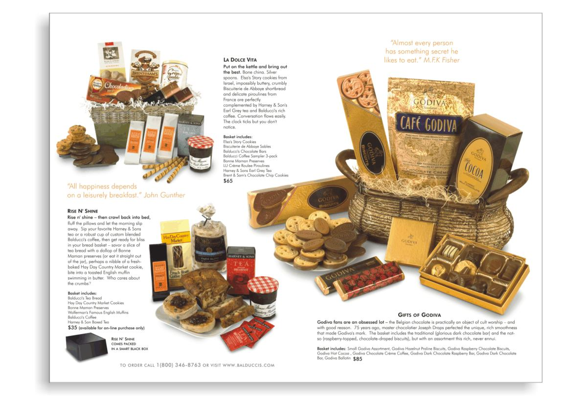 additional gift catalog layouts and product photography styling featuring three gift baskets. Gifts of Godiva ballotin of chocolates, tins of cocoa, chocolate bars, vacuum bags of chocolate coffee and  boxes and plates of cookies. La Dolce Vita gift basket including chocolate chip cookies, chocolate rolled piroullines, Harey and Sons Earl Grey Tea, Bonne Mamon Preserves, three-pack of Balducci