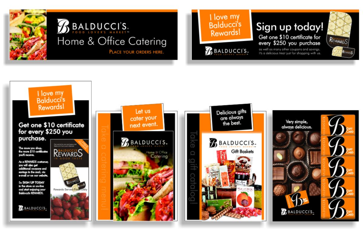 Six layouts showing compatible marketing graphic vocabulary for in-store promotions including large format posters for Home and Office catering and Balducci