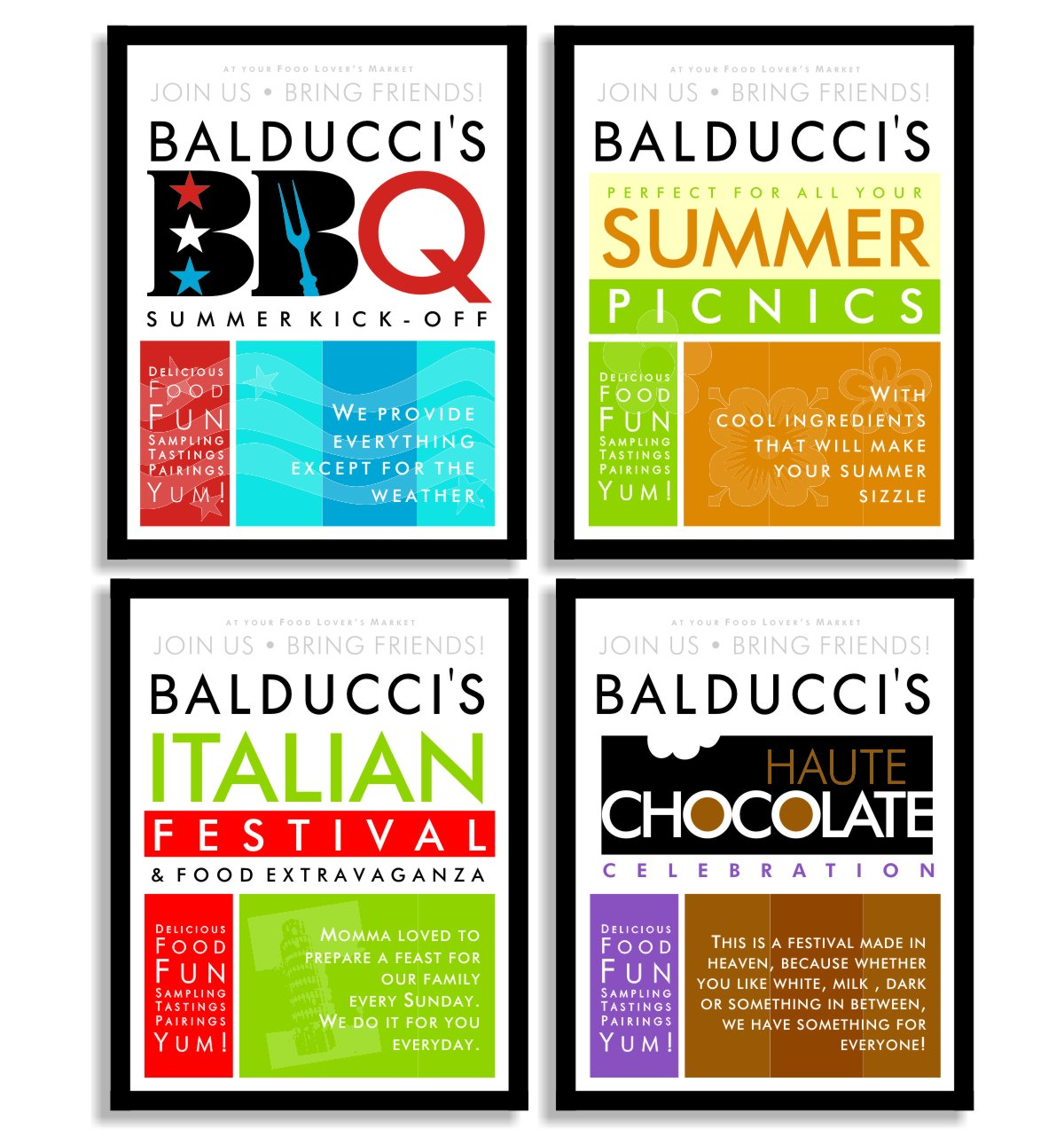 A series of four graphic posters for seasonal food marketing event series. Summer barbeque or B B Q with red white and blue stars in the first Balducci
