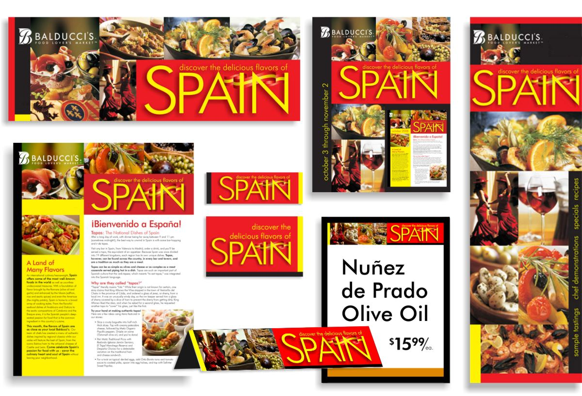 Examples of co-branding for embassy and trade organization food event programs with layout pictures of posters, signs, menus and product sign tag add-ons to provide a storewide presence for Discover the delicious flavors of Spain festival.