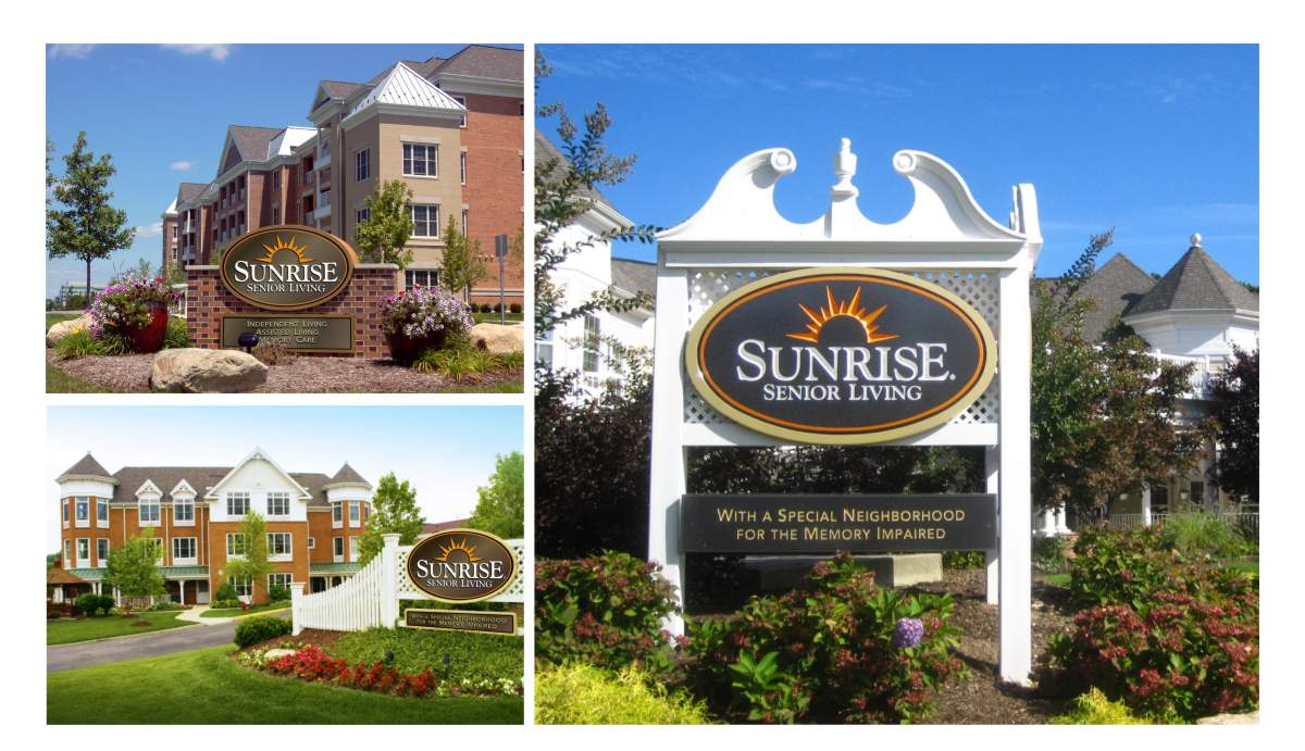 Brand refinement project to promote 30 years of growth beginning with site signage for 230 senior living communities in the United States, Canada and Great Britain. Photos show signature logo signs for three communities, using a bronze oval with white lettering and orange sunrise icon and tan trim outside edge. The bronze is used as a neutral color that will look tasteful and not clash with several decades of building styles, colors, finishes and landscaping for facilities incorporating Victorian New England, desert southwest or provincial French Canadian motifs by Mark Ksiazewski at Centre Street Creative