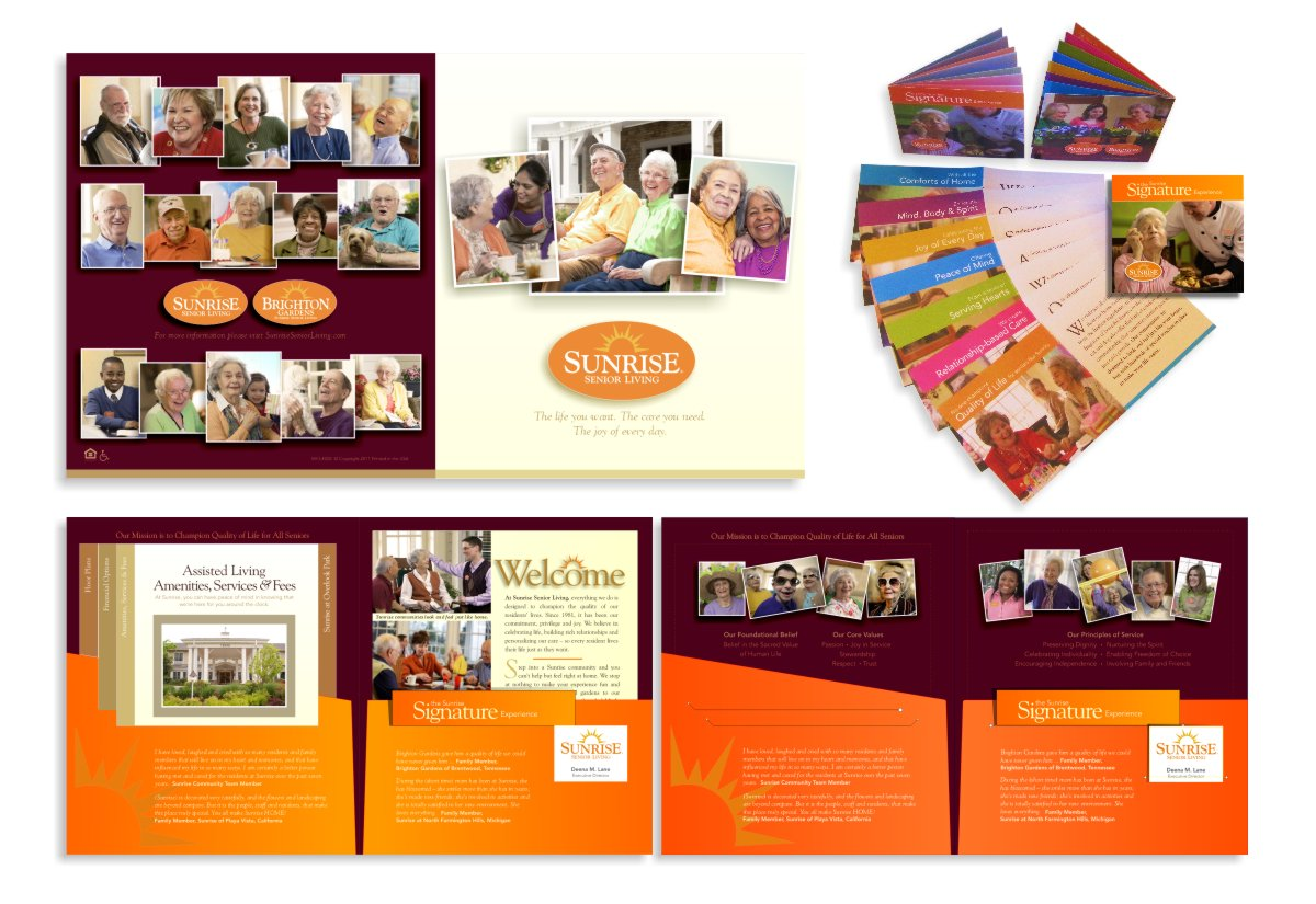 Photograph of Sunrise Senior Living sales literature folio layout shown flat and Signature Experience booklet to illustrate the new enhanced orange oval logo, white sunrise lettering and golden yellow sunrise icon that includes an array of photography in the new candid style that shows seniors interacting in a thriving community of companionship and interaction to illustrate the Joy of Every Day designed by Mark Ksiazewski at Centre Street Creative