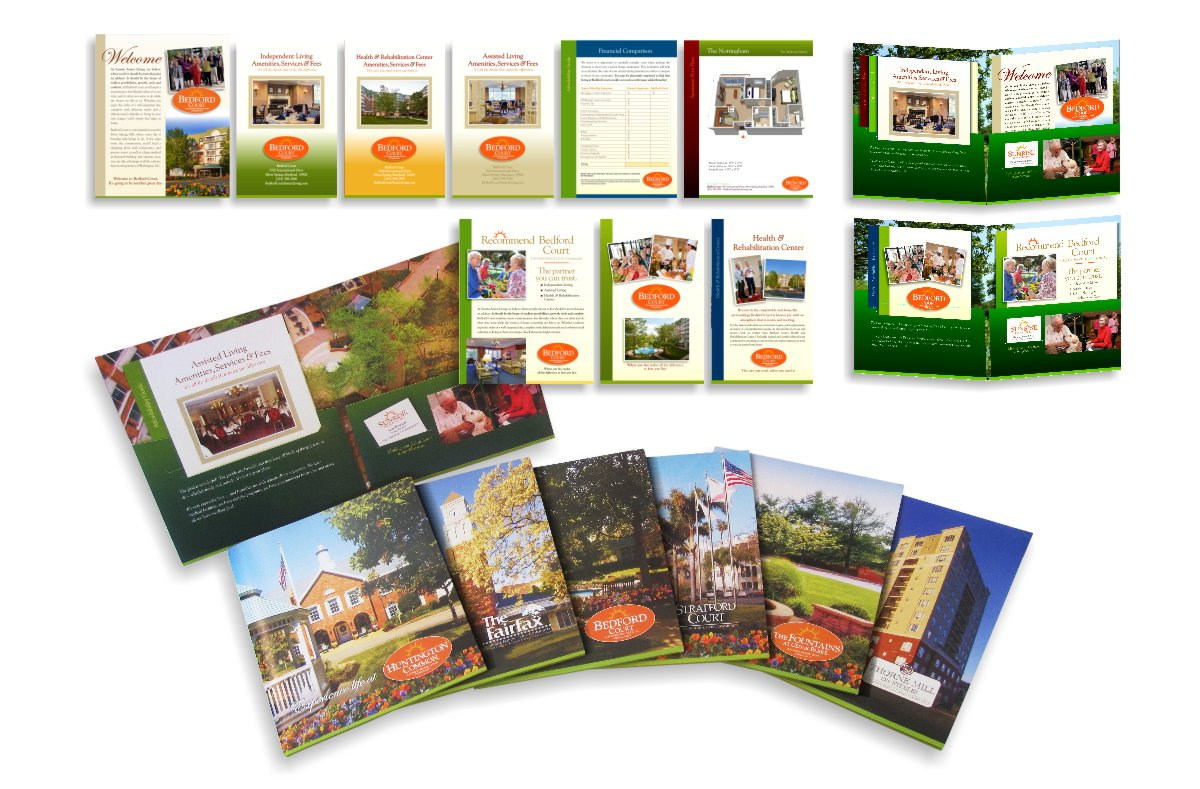 Photo array of Sunrise Senior Independent Living marketing materials including folio covers for Huntington Common, The Fairfax, Bedford Court, Stratford Court, The Fountains at Cedar Parke and Thorne Mill on Steeles, plus print-on-demand sales collateral folio inserts and materials for specific community features, photos, price lists and floor plan inserts designed by Centre Street Creative. The Independent Senior Living materials exhibit a greater use of blue skies, green landscaped areas to depict fresh air, out door activities and freedom for more active senior adults.