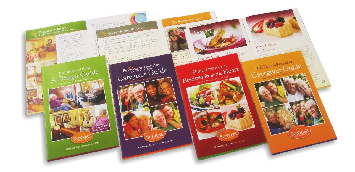 "Photo array of four in a series of brochures for Sunrise Senior Assisted Living featuring information on senior living interior design, memory care guidance and a community cook book. Each brochure is the same common size 5.5"" wide x 8.5"" high, each in a different color, yellow green, plum, chili red and logo orange, each with a grid of four photos 2x2 depicting the subject matter, with titles above and Sunrise Senior Living oval logo below."