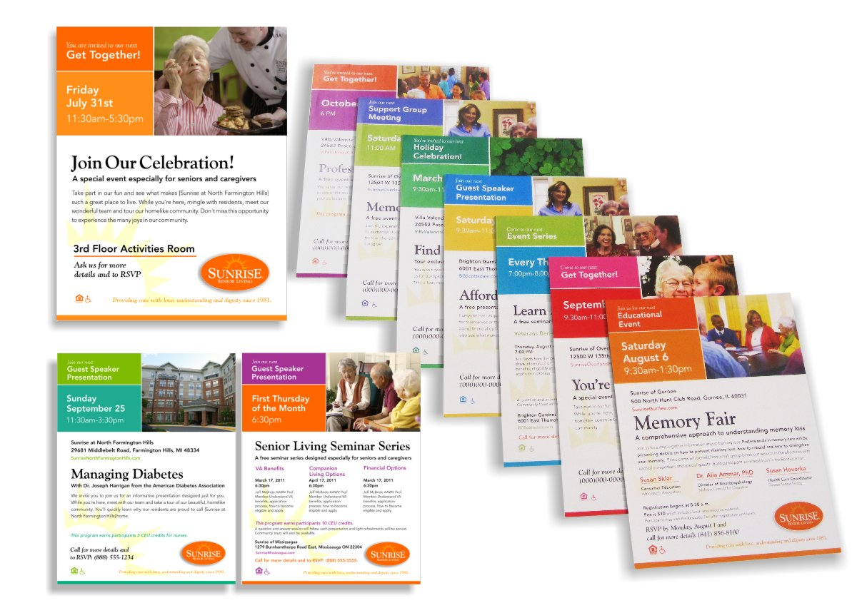 Photo array of print-on-demand collateral posters and flyers incorporating event or holiday specific color combinations, organization of variable text for single or multiple event applications using the same template and thematic feature photos as well as specific local senior assisted community photos