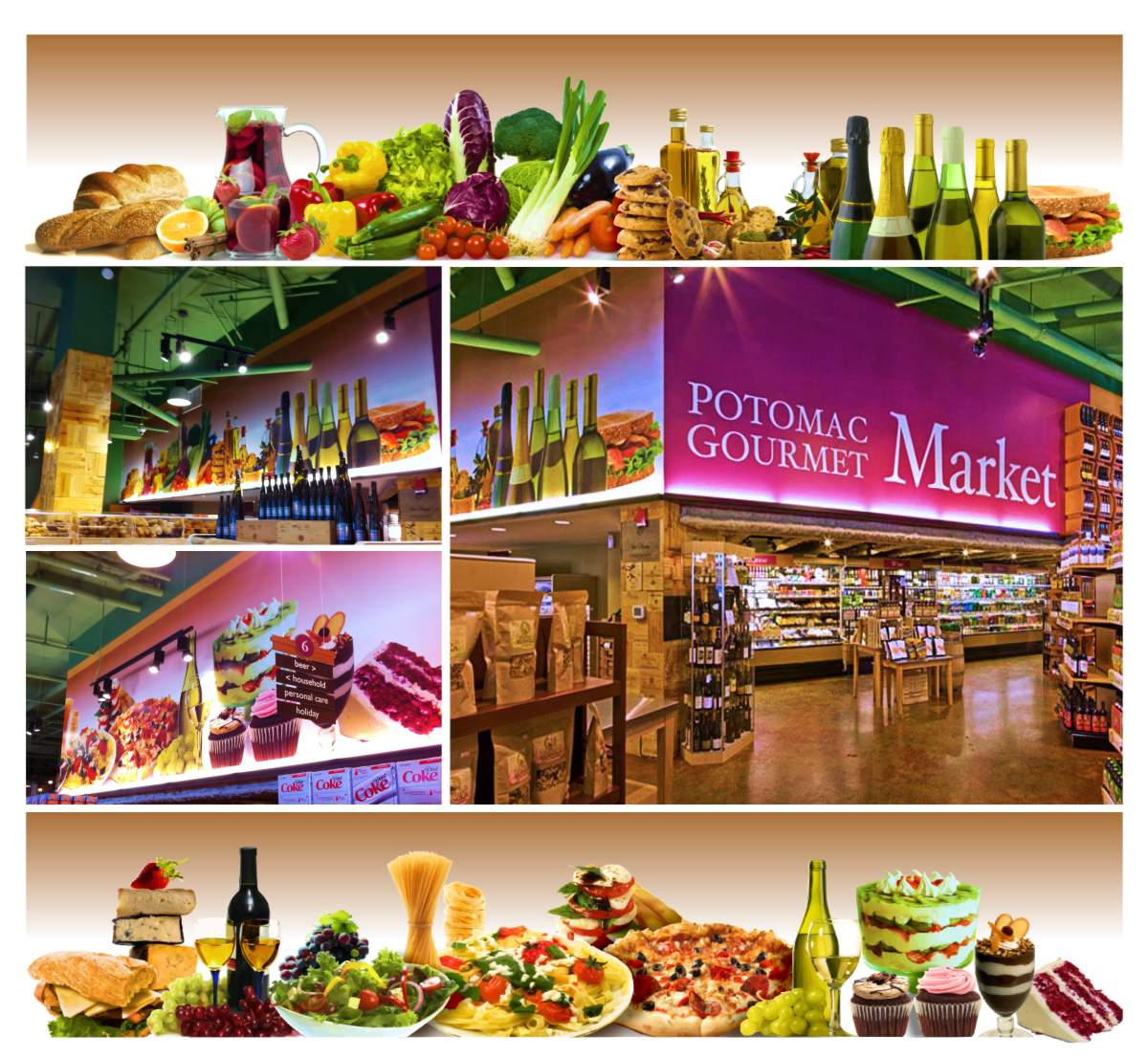 Potomac Gourmet Market at National Harbor is a specialty food and wine merchant. This photo shows two compositions of delicious food in still life wall murals, each 48 inches tall and 25 feet long that include a mouth watering array of colors depicted from left to right with crusty loaves of artisan bread, a pitcher of blood orange sangria, red and yellow peppers, red cabbage, green shallots, purple eggplant, orange carrots, stacks of chocolate chip cookies, tall bottles of golden seasoned herb olive oils, bruchetta, a series of 6 wine bottles with green glass, backlit chardonnay white wine wrapped with gold or black foil and neck bands, followed by a club sandwich on toasted sesame seed bread. The second mural features cheese and cured meats on a crusty French baguette, a stack of creamy white and orange cheeses with black or natural rinds, next to two wine filled goblets with blue stems in front of bunches of green and red grapes, a white bowl with a mixed green salad, a plate of pasta topped with fresh basil, shaved cheese and fresh tomatoes, with a fan of tall dried spaghetti and stacks of dried linguini pasta nests standing behind the plate, next is a stack of fresh mozzarella layered with fresh tomatoes, olives and cracked  ground pepper, a bubbly crusted pepperoni pizza, and ending with sumptuous desserts including a multi layer strawberry and kiwi trifle, two chocolate cupcakes with mocha and strawberry icing, a vanilla and chocolate layered mousse in a goblet and a thick slice of cream cheese frosted red velvet cake. Graphic design by Mark Ksiazewski at Centre Street Creative