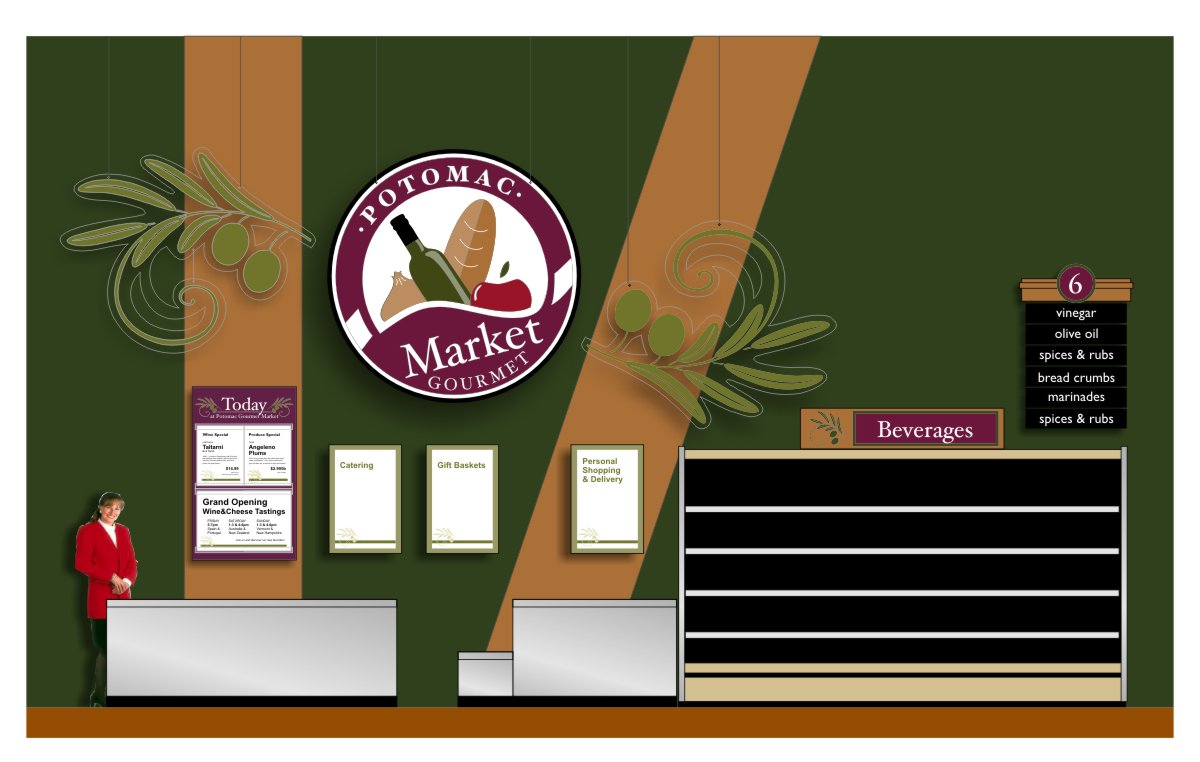 Larger scale drawing showing context composition of graphic branded elements, logo signage, aisle signs and featured special and event signage in brand colors of burgundy, olive, cinnamon and sage with white or black text