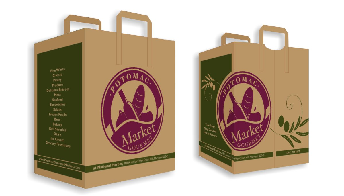 Brand compatible grocery bags with two color printing, burgundy logo emblem and green olive branch motif with olive green side panels including address information and list of product offerings printed on natural craft paper.