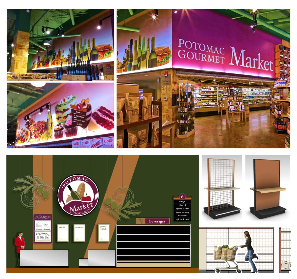 Photos showing interior design elements, grand format printed photo wall murals of food still life imagery, composite elevation of branded graphic elements in context and Lozier grocery display shelving fixtures. Design by Mark Ksiazewski at Centre Street Creative