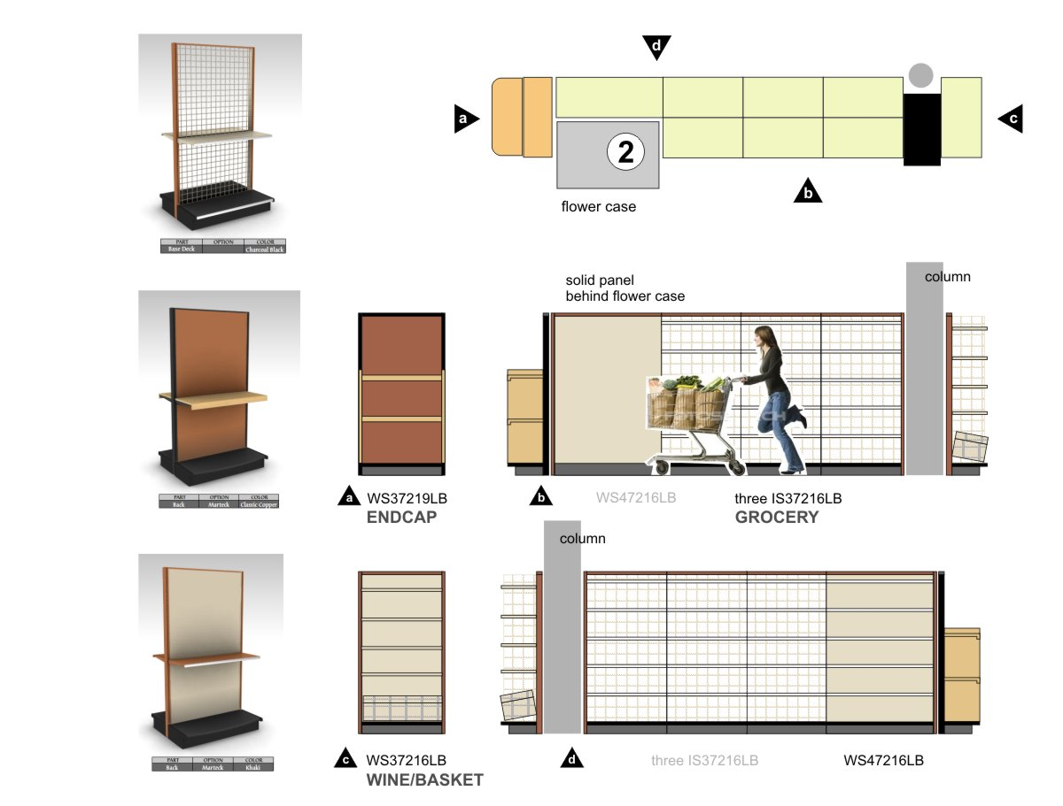 Lozier grocery shelving fixture design, specification and installation diagramming by Centre Street Creative